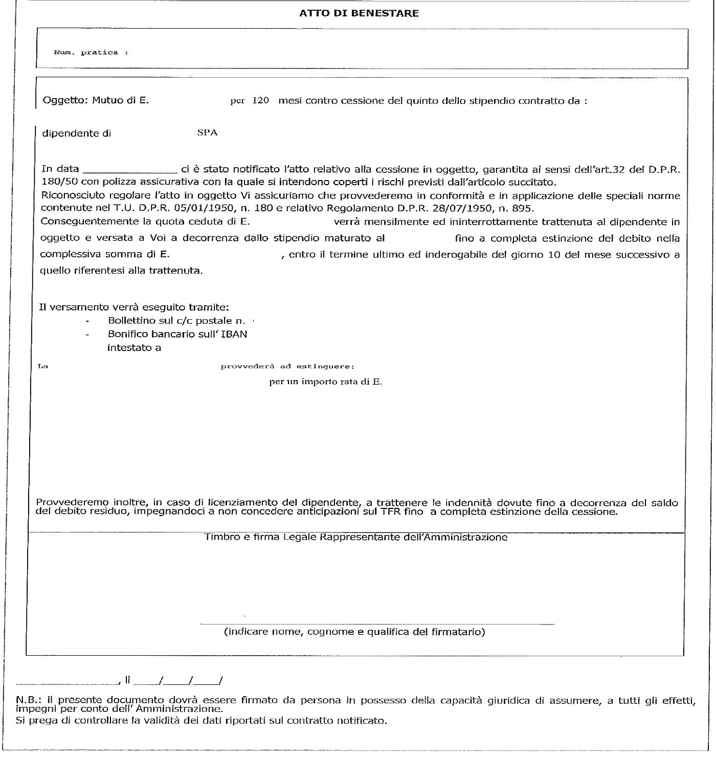 Cessione del Quinto - Atto di Benestare