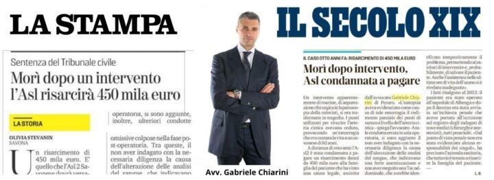 Malasanità Savona - Avv. Gabriele Chiarini - Rassegna Stampa