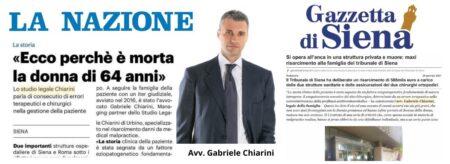 Malasanità Siena Errore Farmacologico - Avv. Gabriele Chiarini - Rassegna Stampa
