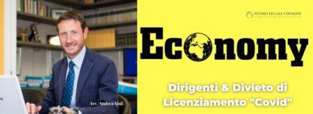 Avv. Andrea Sisti per Economy - Il divieto di licenziamento Covid opera anche per i dirigenti